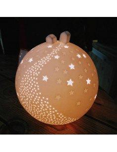 RÄDER DECORATION Lampe veilleuse porcelaine blanche Terre étoilée