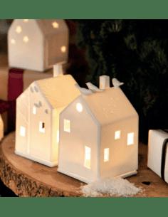 RADER DECORATION Maison photophore en porcelaine blanche aux oiseaux