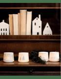 RÄDER DESIGN Photophore porcelaine blanche ombre maisons dorées