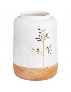 RÄDER DESIGN Photophore bois et porcelaine branche dorée