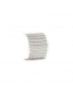 PASCALE LION Bracelet manchette metal acier cotte de maille couleur argent