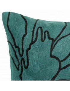 VIVARAISE - Coussin Flore coloris prusse 45x45