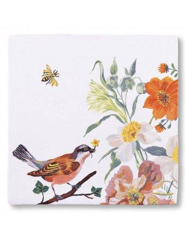 """STORYTILES Carreau de céramique """"Des oiseaux et des abeilles"""""""