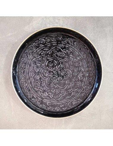 BAZARDELUXE Plateau berbère métal noir