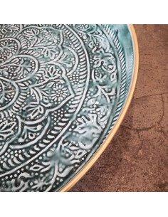 BAZARDELUXE Plateau berbère métal émaillé kaki