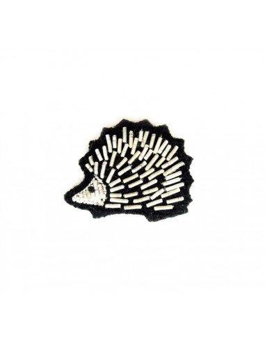 Macon et Lesquoy broche brodée hérisson argent