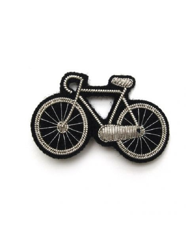 Macon et Lesquoy Broche brodée - Bicyclette argent