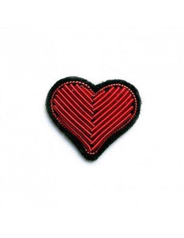 Macon et Lesquoy Broche brodée - coeur rouge - saint valentin
