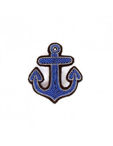 Macon et Lesquoy Broche brodée main canetille - Ancre marine