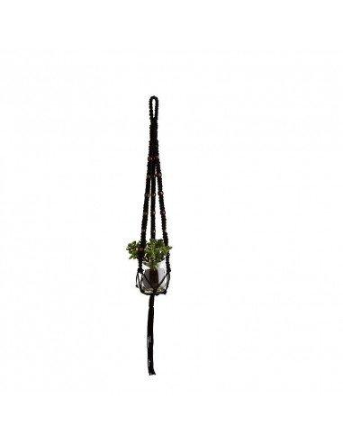 Porte plante en macramé et perles de bois décoration exotique
