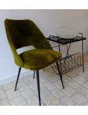 Brocante vintage sixties Chaise en moumoute kaki
