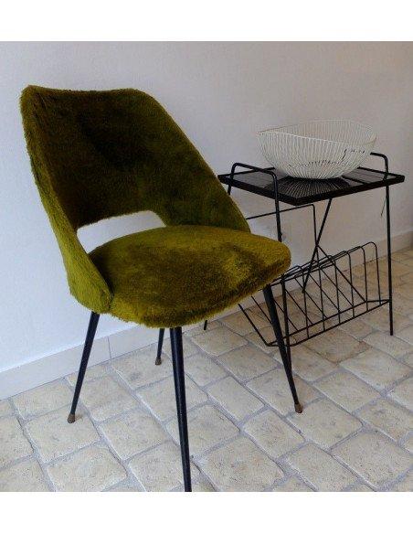Chaise en moumoute kaki - VENDUE !