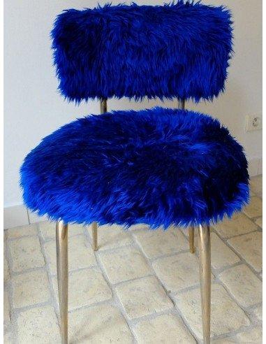 Brocante vintage Petite chaise moumoute bleue