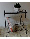 brocante vintage industrielle Petite table d\'appoint en métal laqué noir fifties