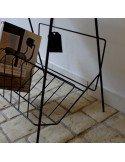 brocante vintage design années 50 industriel Petite table d\'appoint en métal laqué noir fifties