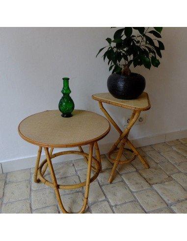 Brocante vintage sixtiesPetites tables en rotin