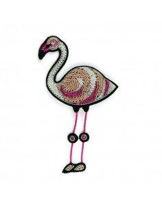 Macon et Lesquoy broche brodée flamand rose pink flamingo pink floyd