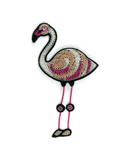 Macon et Lesquoy broche brodée flamand rose pink flamingo pink floyd