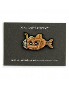Macon et Lesquoy bijoux broche brode main sous marin jaune Yellow submarine
