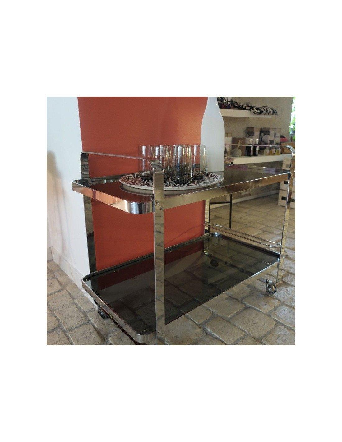 brocante vintage table roulante inox et verre fum gris. Black Bedroom Furniture Sets. Home Design Ideas