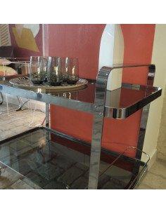 brocante vintage Table roulante métal inox et verre fumé seventies