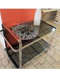 brocante vintage Table roulante métal inox et verre fumé