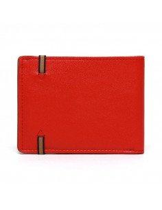 Carré Royal maroquinerie homme femme cuir Portefeuille rouge coquelicot