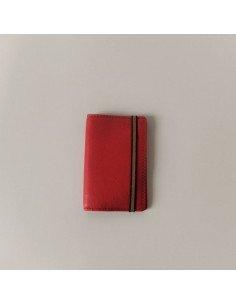 Carré Royal maroquinerie 100 % cuir taurillon fabriqué en France Porte cartes rouge