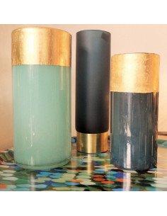 House doctor Vase verre vert jade cuivre design scandinave