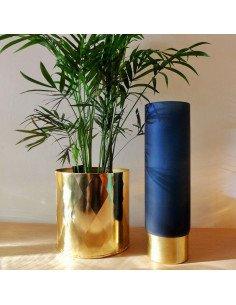 House Doctor Vase verre sablé bleu nuit et cuivre