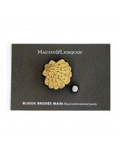 Macon et lesquoy bijoux broche brodée main coquille St Jacques