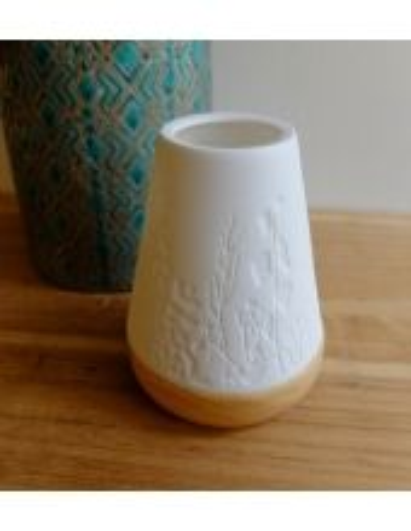Photophore bois/porcelaine fleurs