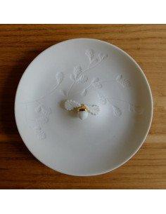 rader design Assiette vide poche porcelaine blanche gland feuilles de chene