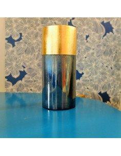 House Doctor Vase tube verre métal bleu nuit et or