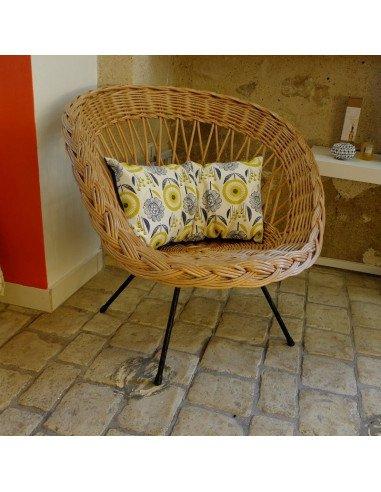 fauteuil rotin vintage pieds mtal - Fauteuil Rotin Vintage