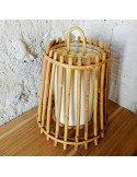 brocante vintage Petit luminaire à suspendre en rotin