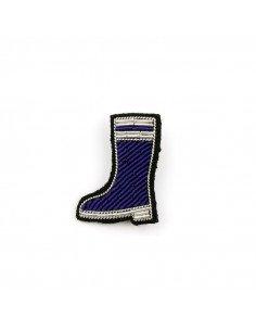 macon et lesquoy Broche brodee main botte de pluie bleue
