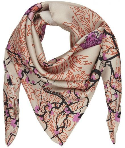 Foulard femme carré soie Printemps Japonais bella ballou rose orange