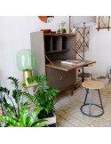 Secrétaire fifties vintage rénvové mobilier en ligne gris foncé