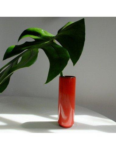 Vase tube rouge brocante vintage
