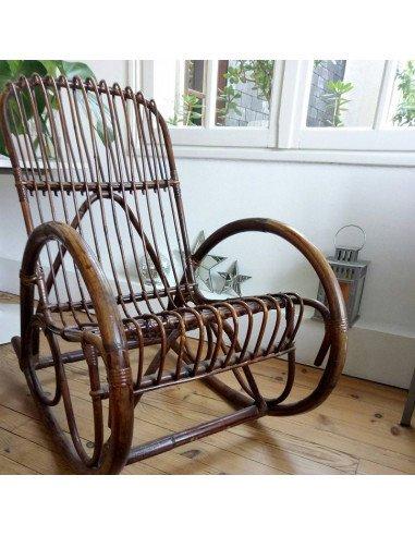 Fauteuil à bascule en rotin brun mobilier brocante vintage