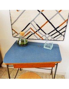 Bureau écolier fities en formica bleu gris mobilier vintage