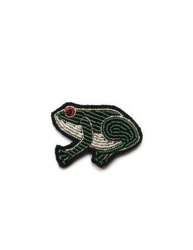 Broche brodée grenouille macon et lesquoy bijoux