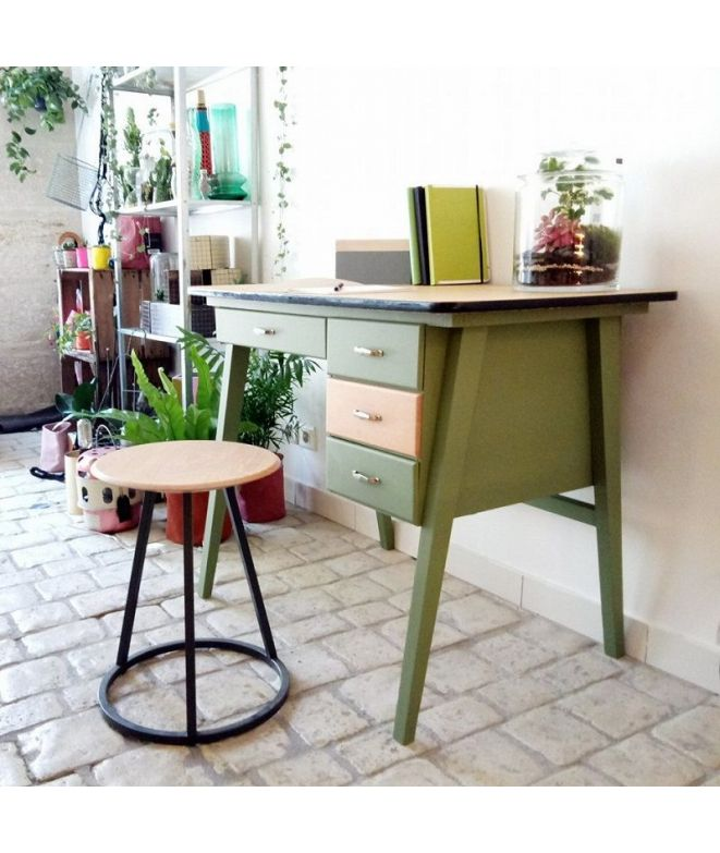 brocante vintage bureau d 39 colier ann es 50 r nov vert mat 4 tiroirs. Black Bedroom Furniture Sets. Home Design Ideas