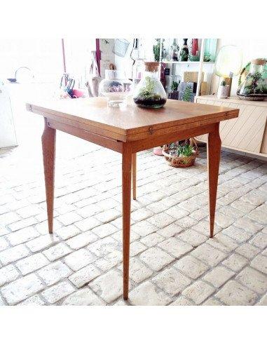 Table carrée pieds compas extensible brocante vintage en ligne