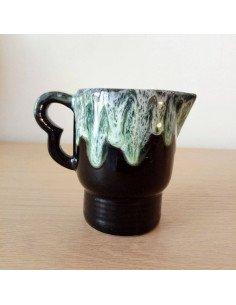 Pot émaillé noir et vert fifites vallauris brocante vintage