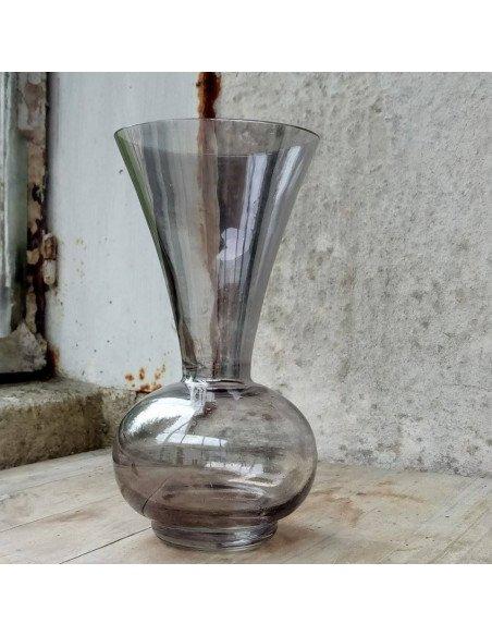 Petit vase en verre transparent noir - VENDU !