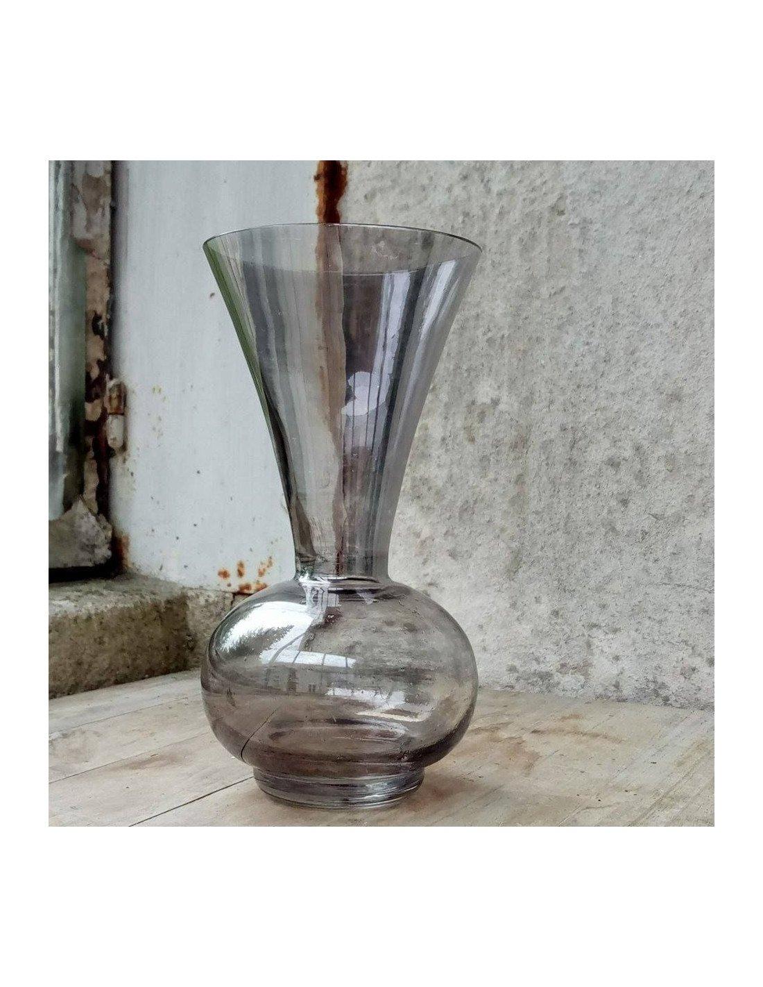 brocante vintage petit vase en verre transparent fum noir. Black Bedroom Furniture Sets. Home Design Ideas