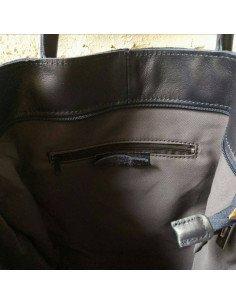 Sac Emma en cuir bleu marine sac a main femme tote bag
