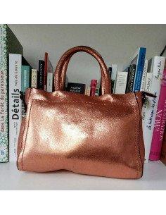 Sac à main bandouliere cuir femme Adèle en cuir métallisé cuivre rose